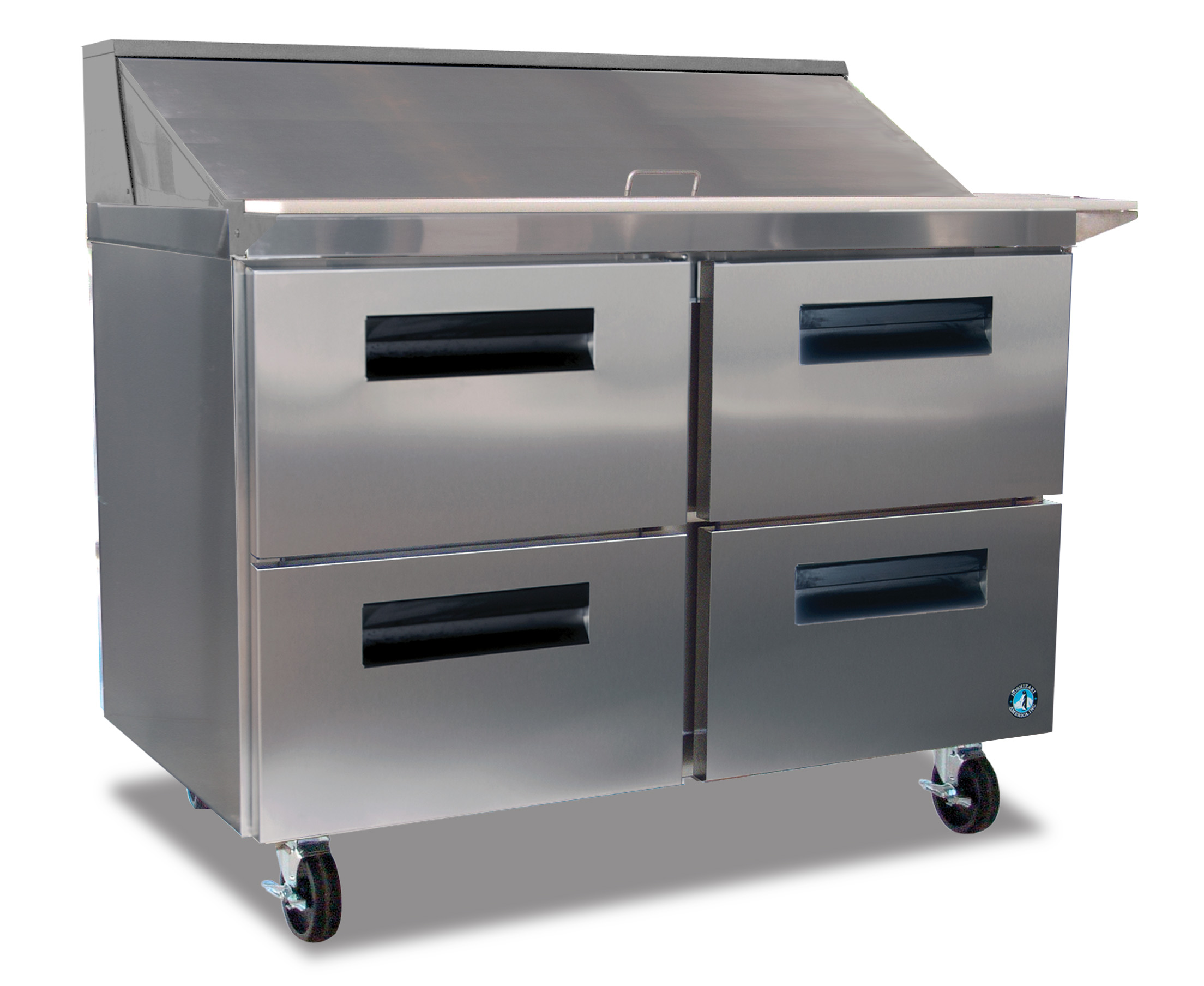 Hoshizaki CRMRD Refrigerator Two Section Sandwich Top Prep - 6 foot stainless steel prep table
