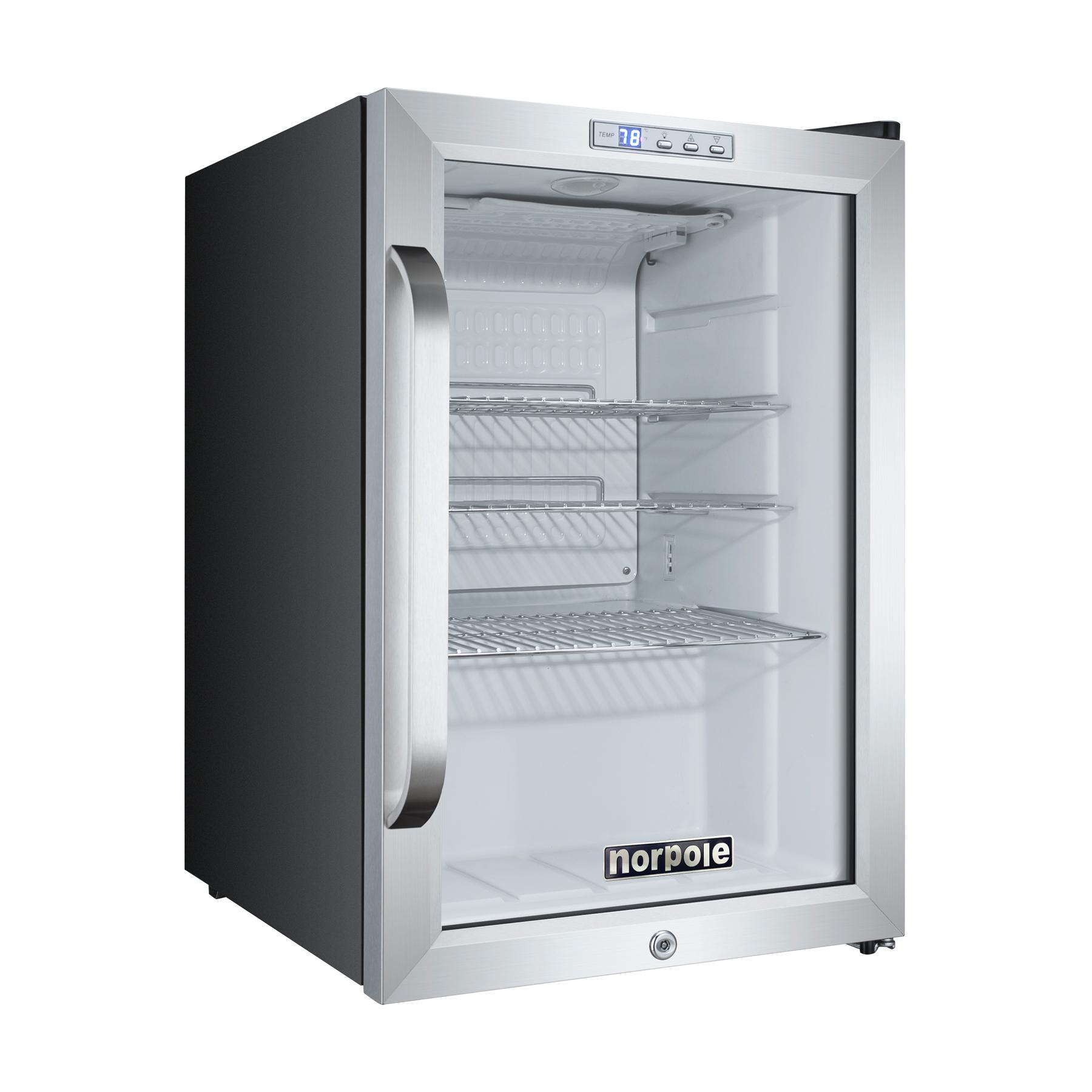 Norpole Npcm 25sb 1 Glass Door Swing Refrigerator In Black
